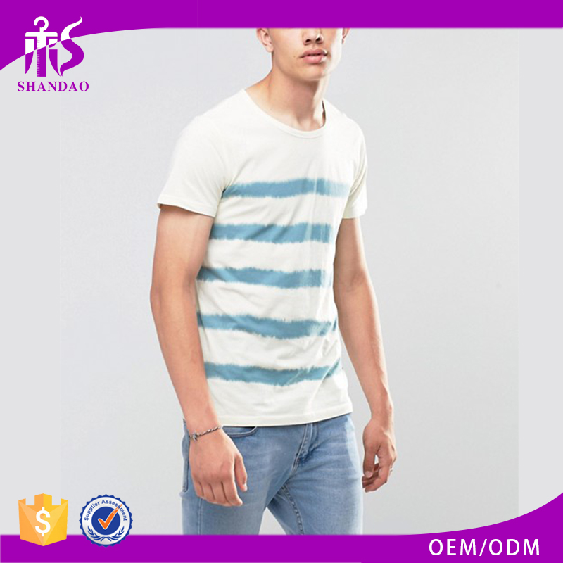 Shandao Factory Summer Hot Sale Casual Stripe Printed Short Sleeve O-Neck 160g 60 Cotton 40 Polyester T Shirts