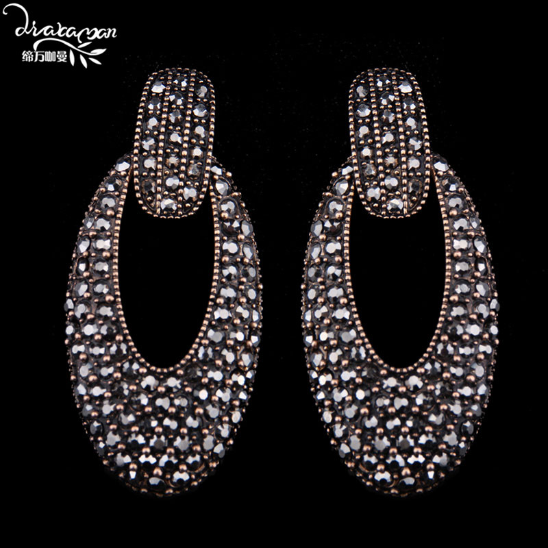 Dvacaman Brand 2017 New Design Hollow Round Dangle Earrings Vintage Gold Plated Maxi Jewelry Women Party Statement Earrings L72