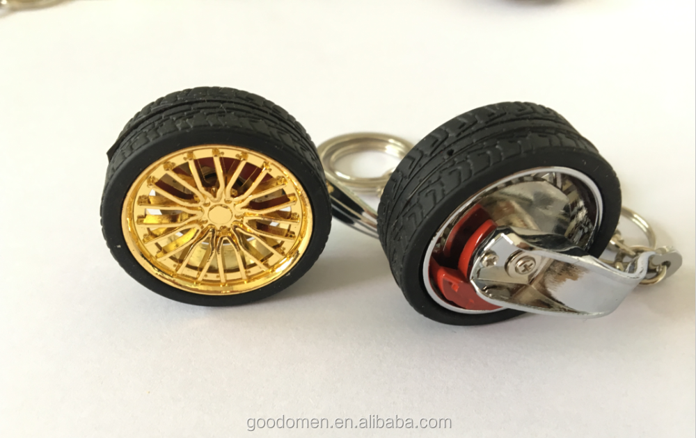 Factory Cheap Promotion metal wheel rim keyring,cheap wheel key holder,steering wheel keychain