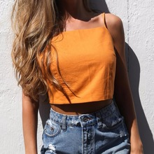 Women Cami Strap Cropped Top Open Tie Back Bow Sleeveless Adjustable Casual Crop Tops White/Orange