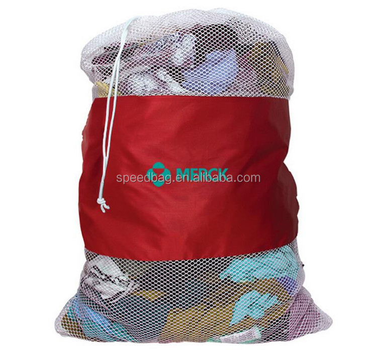 Custom hot-sale large dirty laundry mesh bag mesh drawstring bag