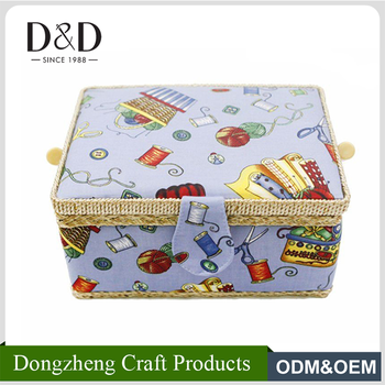 Du0026D Fashion Fabric Craft Handmade Household Storage Box Sewing Basket 25*  19*13CM With