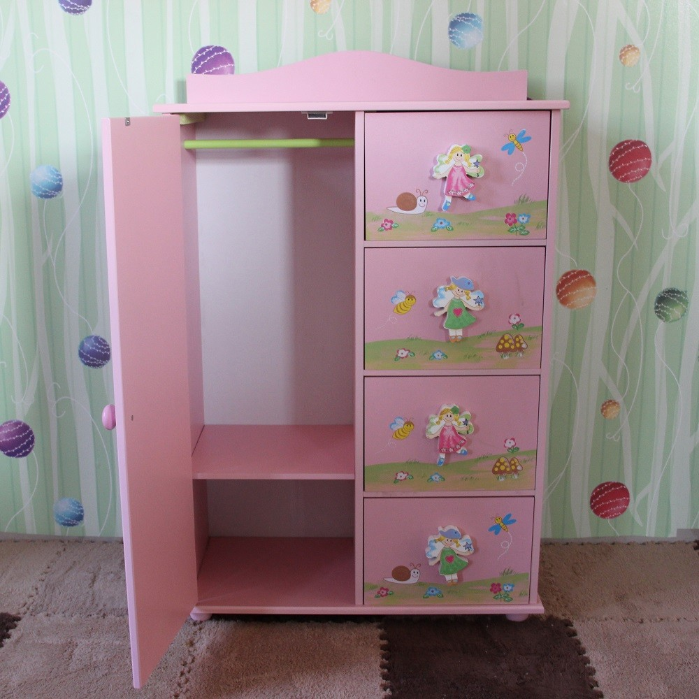 Lovely Baby Wardrobe Wooden Fairy Coat Storage Cabinet
