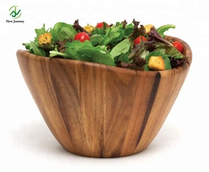 Acacia Salad Wooden Bowl Antique Natural Bamboo Salad Bowl