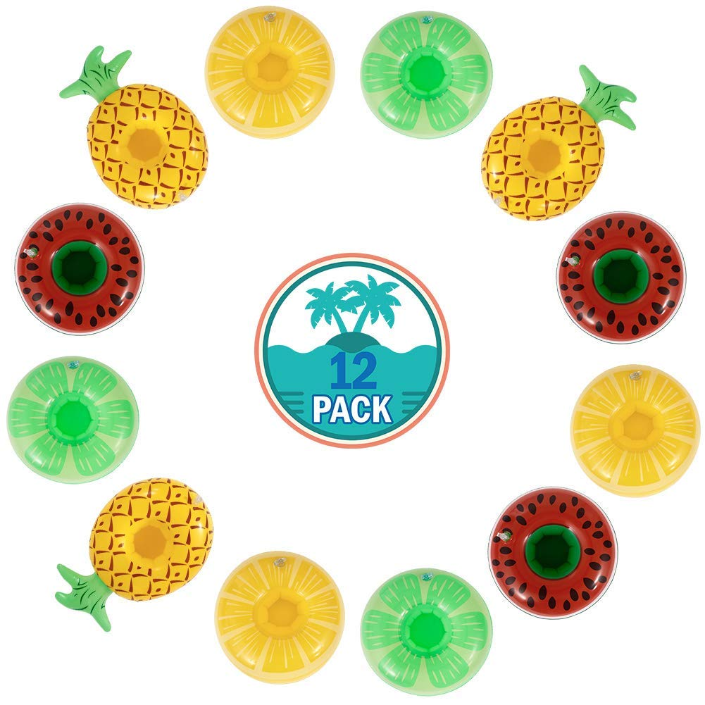Sakiyr Inflatable Drink Holder, 12 Pack Fruit Drink Pool Floats Cup Holders Inflatable Floating Coasters for Pool Party and Kids Fun Bath Toys