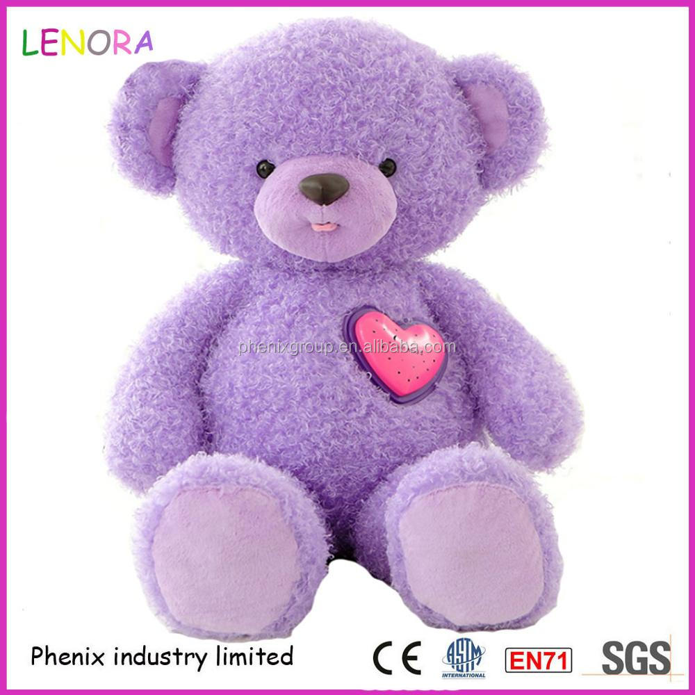 New product cute purple teddy bear with music and light holiday gift plush bear
