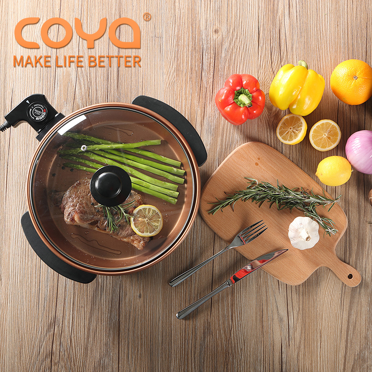 1500w round plate non stick electric aluminium copper flat frying pizza pan without oil