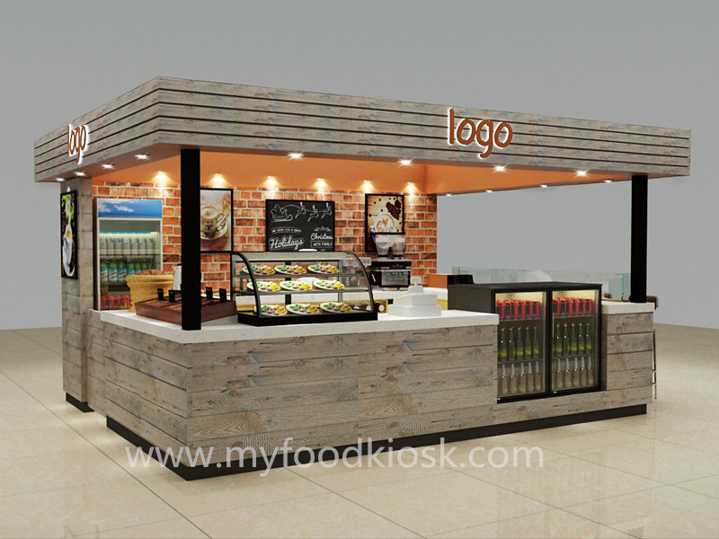 Shopping Mall Food Kiosk Design Indoor Coffee Kiosk For