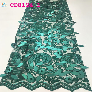 CD8124-5 Plain teal green e flower nigeria guipure lace wholesale embroidery sequins net lace