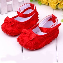 Baby First Walkers Infant Baby Girls Shoes Cotton Kids Shoes Rose Flower Child Shoes 11cm 12cm