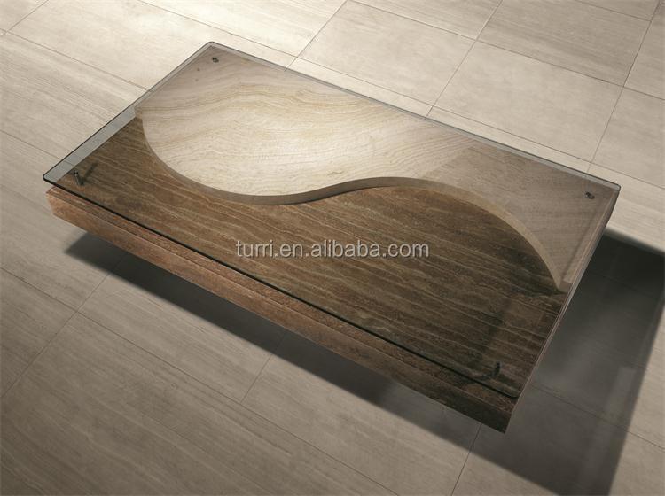 Moderne Beige Travertin Marbre Salon Table Basse Avec Plateau En ...