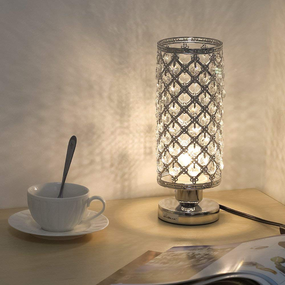 HAITRAL Crystal Table lamp - Small Bedside Table Lamp with Clear 110 Pcs Crystals Lamp Shade, Elegant Decorative Room Sliver Office Desk Lamps for Bedroom, Living Room, College Dorm (HT-B011)