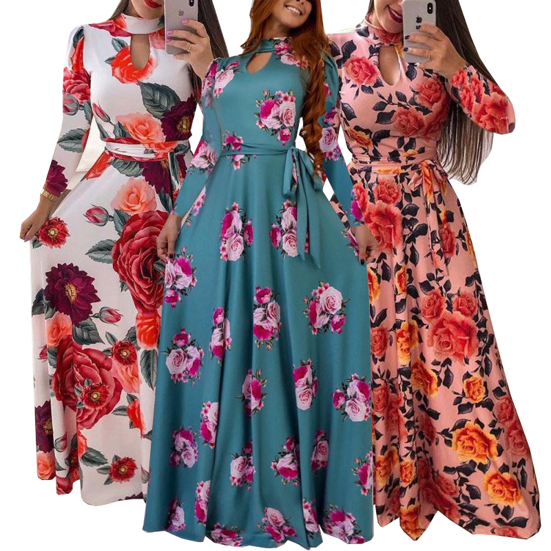 Women's Fashion Bohemian Long Sleeve Floral Print O neck Maxi Dress Beach Dress Vintage Dress Plus Size(S-5XL))