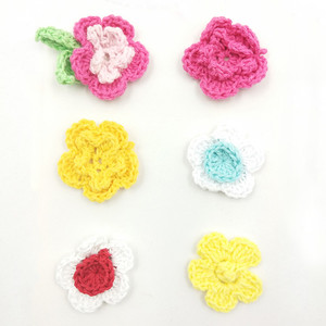 DIY Fabric Craft Crochet Flowers Handmade Knitted Flowers for Headband Decoration