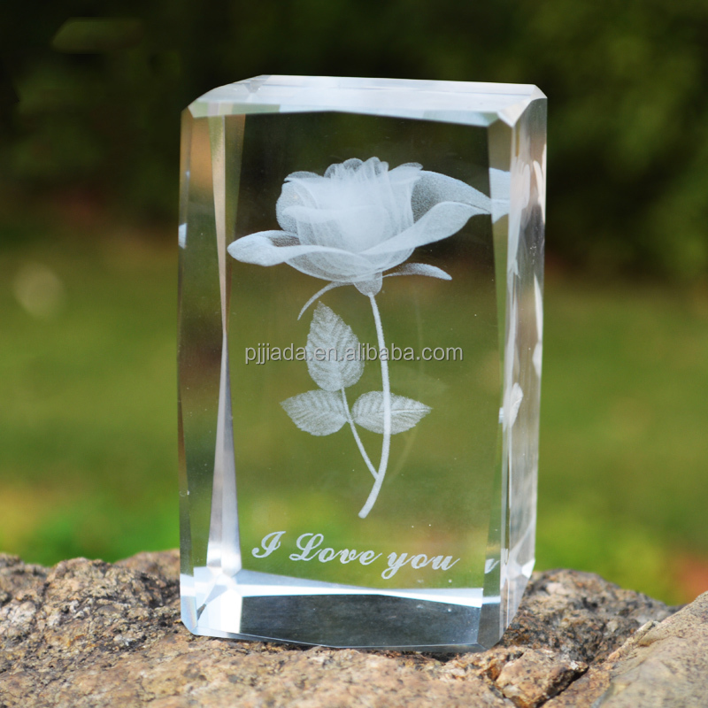 Love Theme Rose Crystal Cube 3D Laser Engraved Flower Glass Crafts Presents Romantic House Home Decoration Valentine's Day Gifts