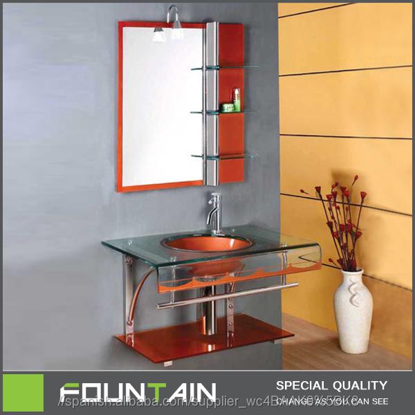 bsci moderna lavabo de cristal templado para el bao de acero inoxidable de apoyo de vidrio