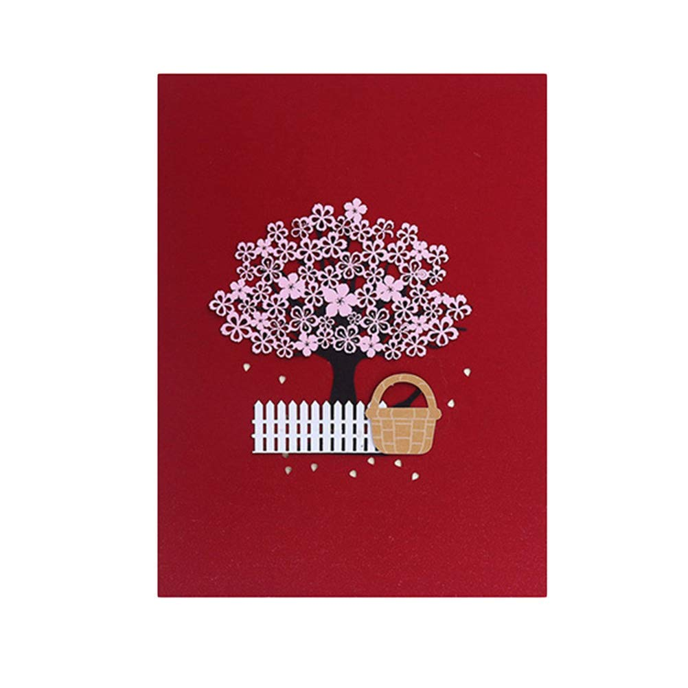 1 Pc 3D Stereoscopic Romantic Blossom Cherry and Basket Wedding Invitation Cards Handmade Paper Art Greeting Cards