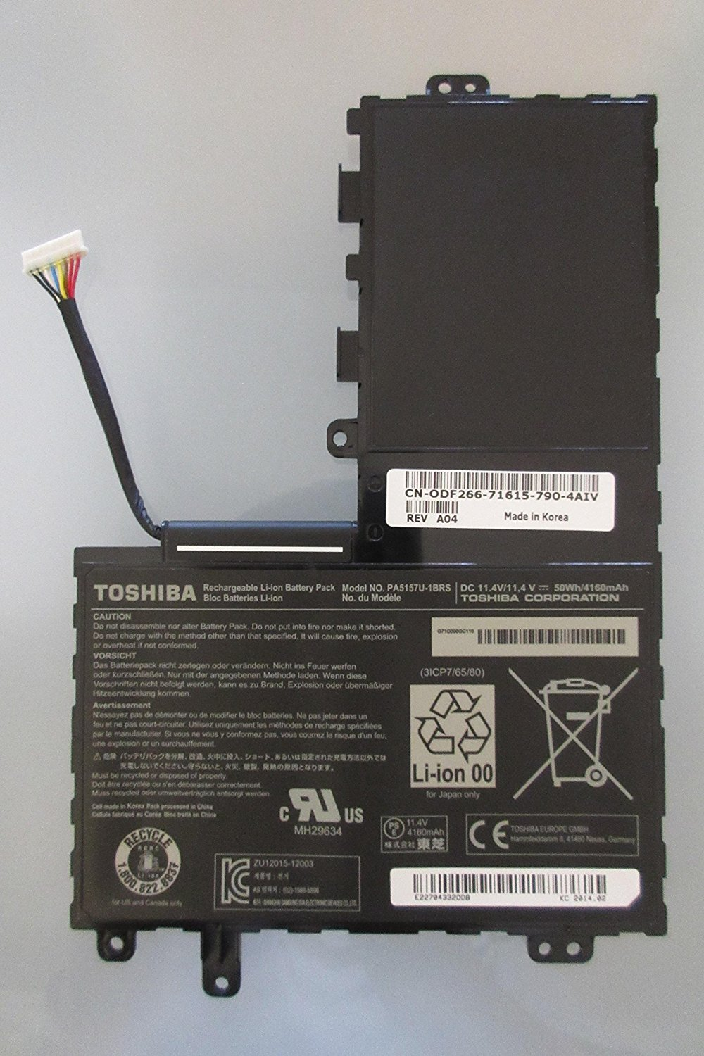 Li-ion 3 Cell Battery 50Wh 11.4V for Toshiba Satellite E45T-AST2N01 E45T-AST2N02 New Genuine