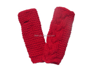 Red china big cable winter mitten without fingers
