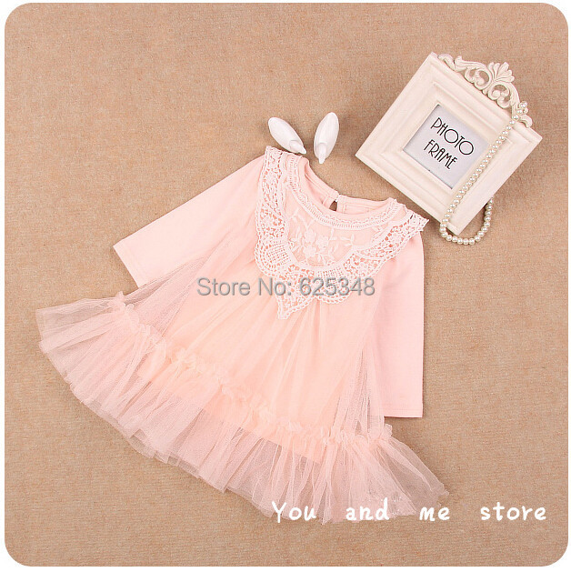 2015 IDEA new autumn lace princess baby girls dress baby clothing birthday party infant dress vestidos
