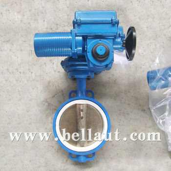 Motor operated a216 wcb wafer type rubber seal butterfly for Motor operated butterfly valve