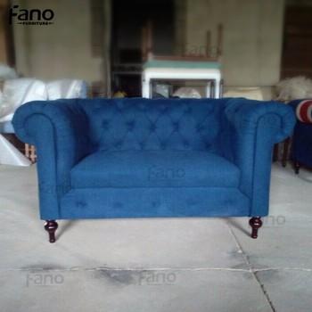 Italian Style Furniture Blue Chesterfield Velvet Button Tufted Sofa