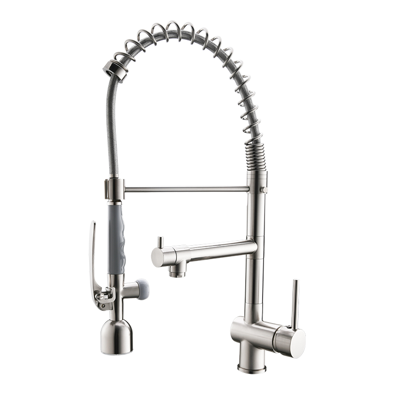 High Quality Three Way <strong>Spring</strong> Pull Down Brushed Nickel LED <strong>Kitchen</strong> <strong>Faucet</strong> with Sprayer Taps
