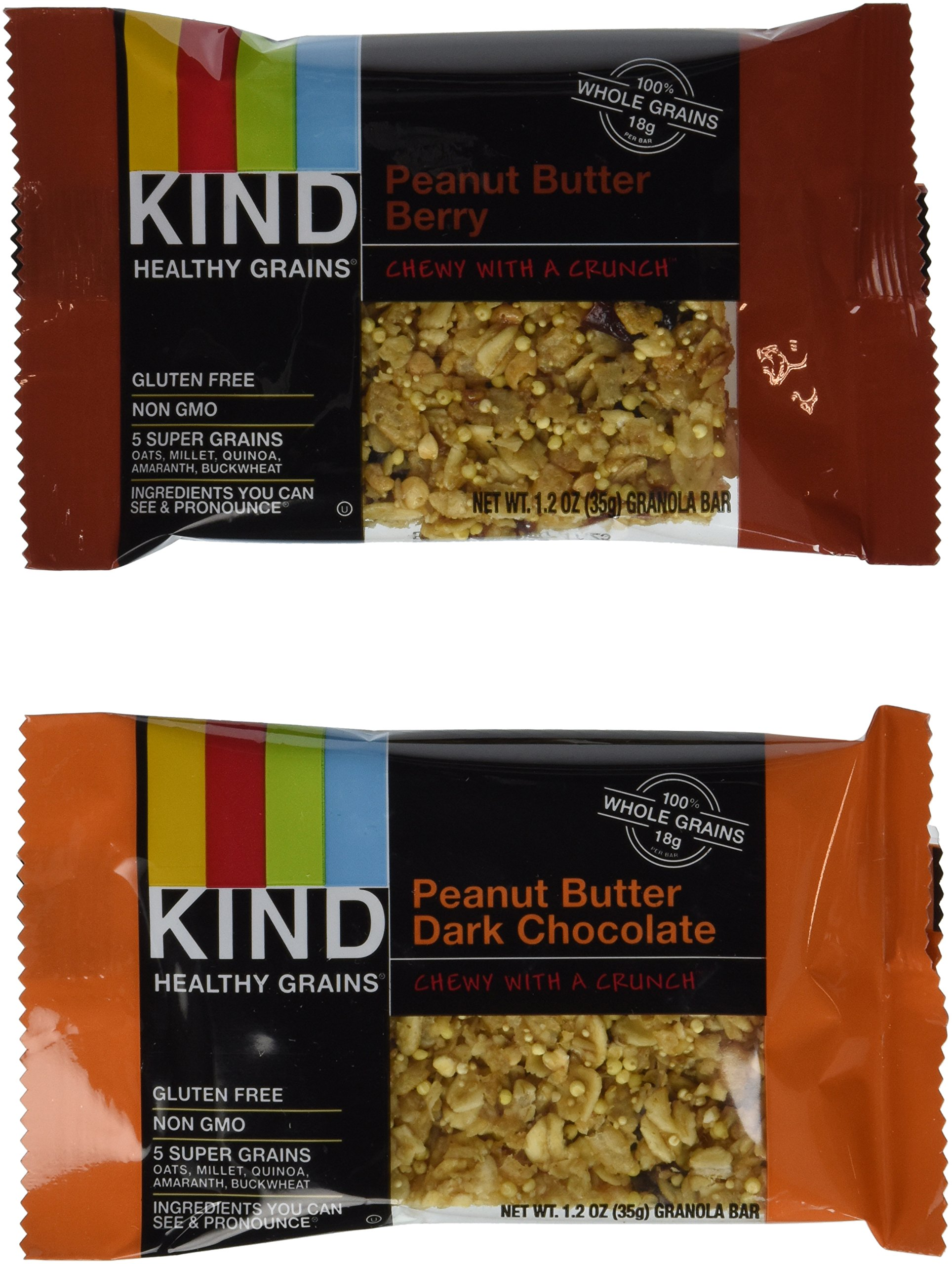 KIND Healthy Grains Granola Bars, Peanut Butter Lovers Variety Pack, Gluten Free, 1.2oz Bars, 15 Count