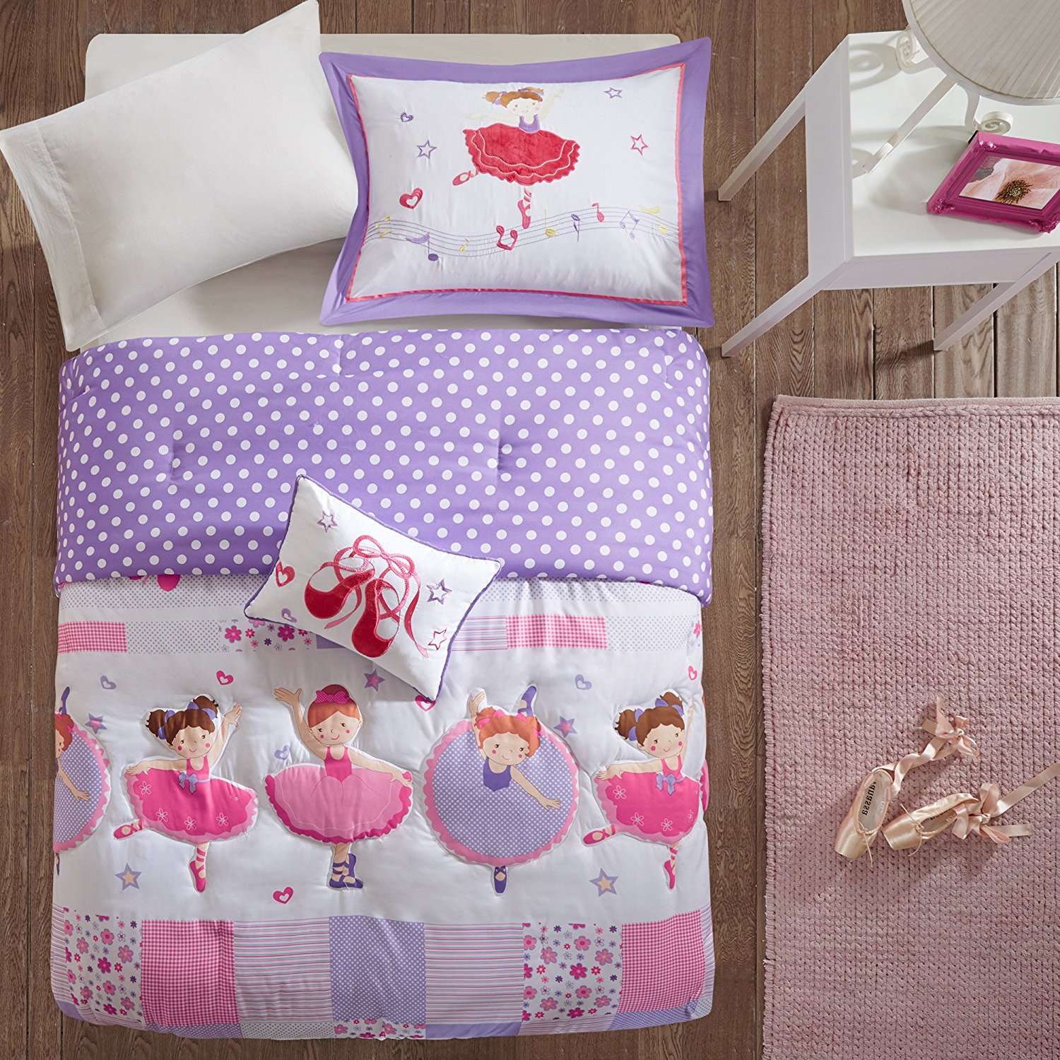 4 Piece Girls Purple Pink Character Floral Comforter Full Queen Set, White Red Flowers Printed Ballerinas Dancing Girl Duchess Kids Bedding Teen Bedroom Casual Elegant Gorgeous, Polyester