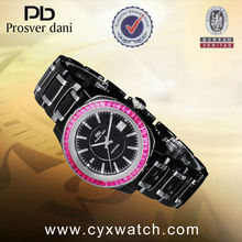 All Type of Wrist Watch with Red Crystal Ring Surface & Sapphire Glass for Lovers