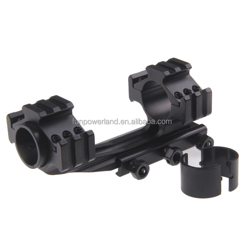 Funpowerland One Piece Offset 30mm Scope Mount with Accessory Rails Picatinny Weaver Base