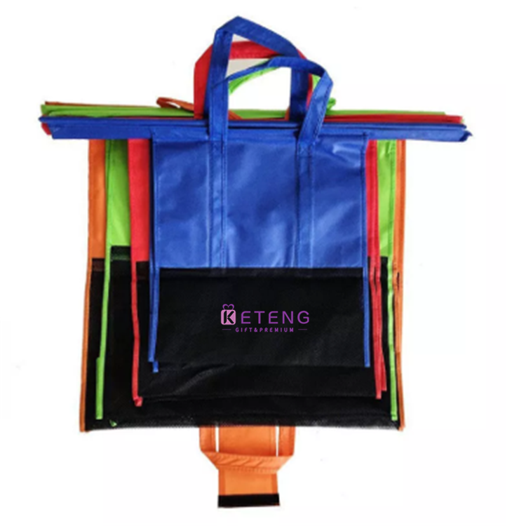 Eco reusable durable assorted color non-woven foldable trolley shopping bag for supermarket