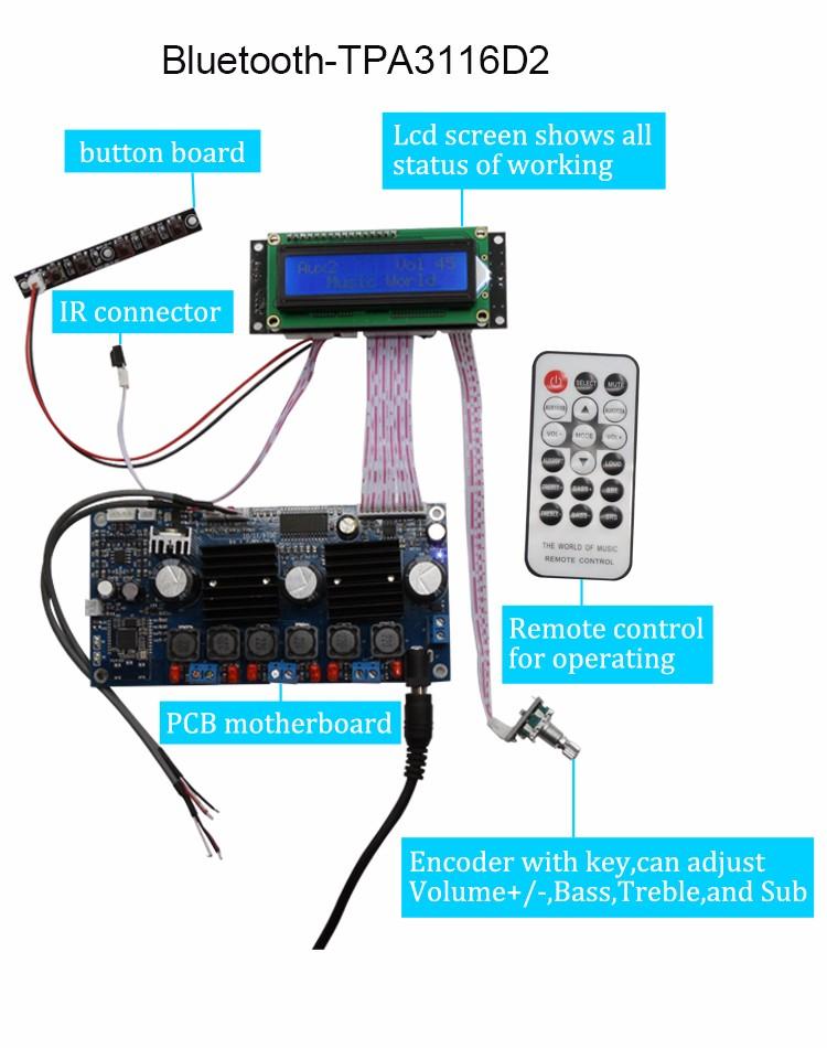 Tpa3116 100w 50*2 Bluetooth Amplifier Board - Buy Bluetooth