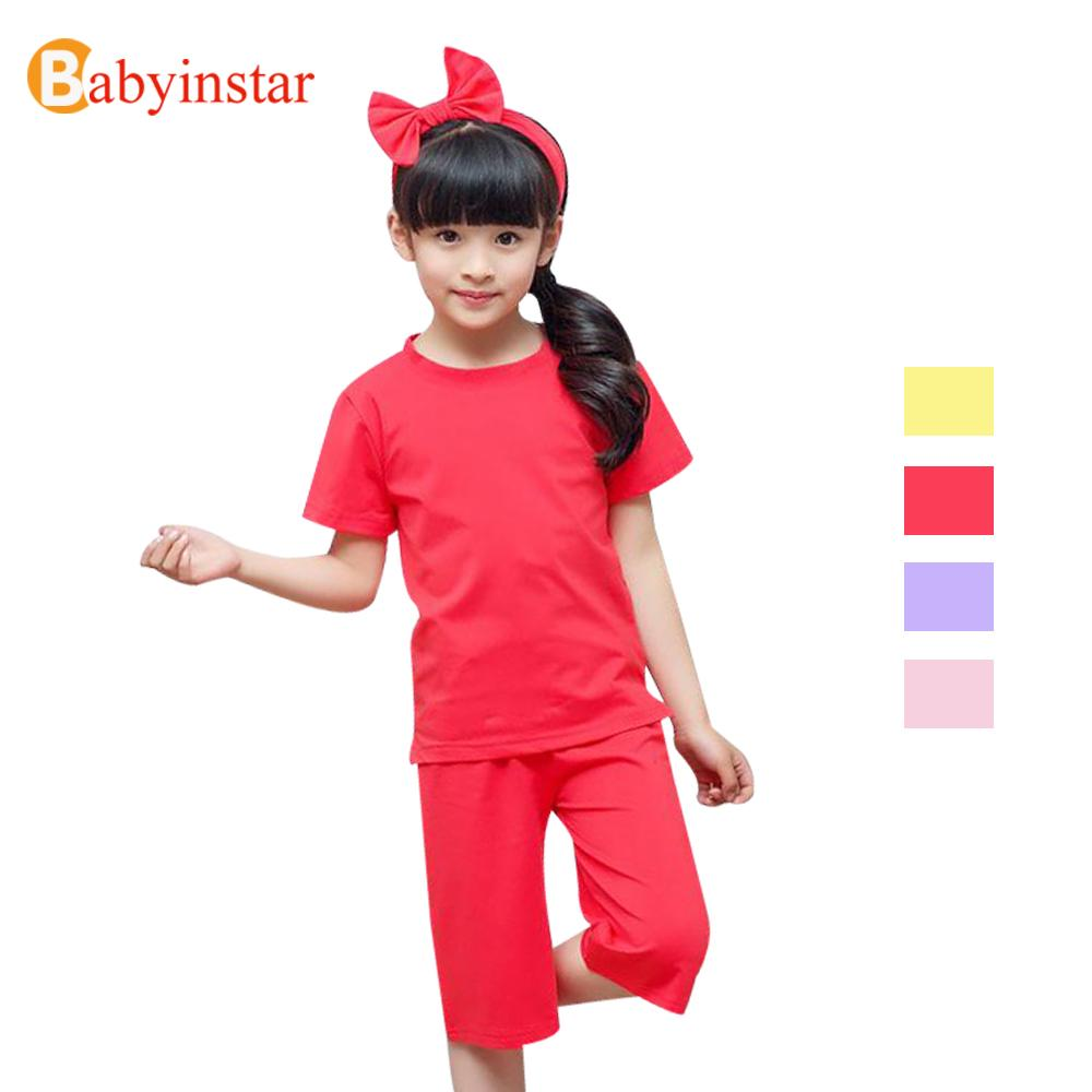 Latest Baby Girls Pajama Sets Summer Solid Color 2pcs Hair Bands Kids Girls Sleepwear Clothing Sets