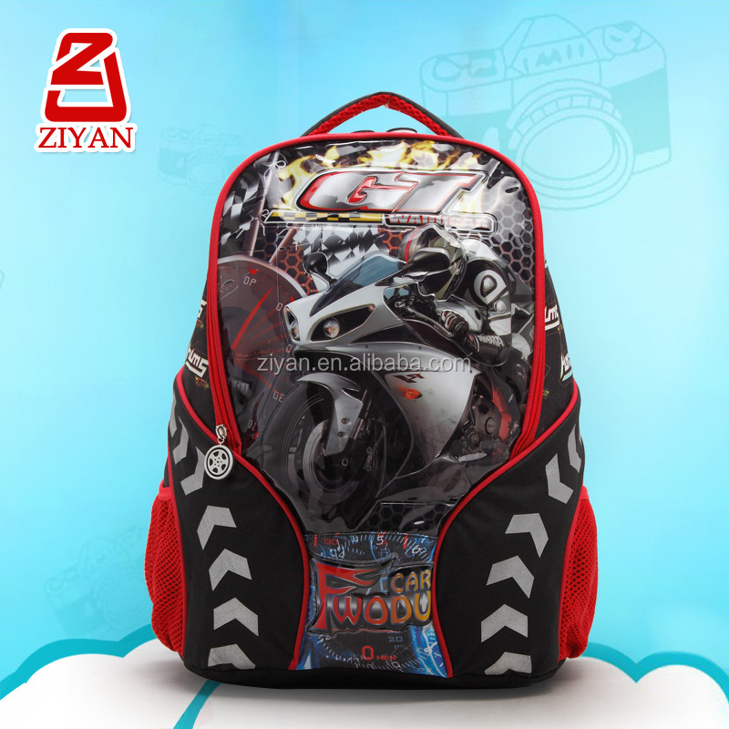 Motor Cartoon Children Kids School Bag Rucksack 2015