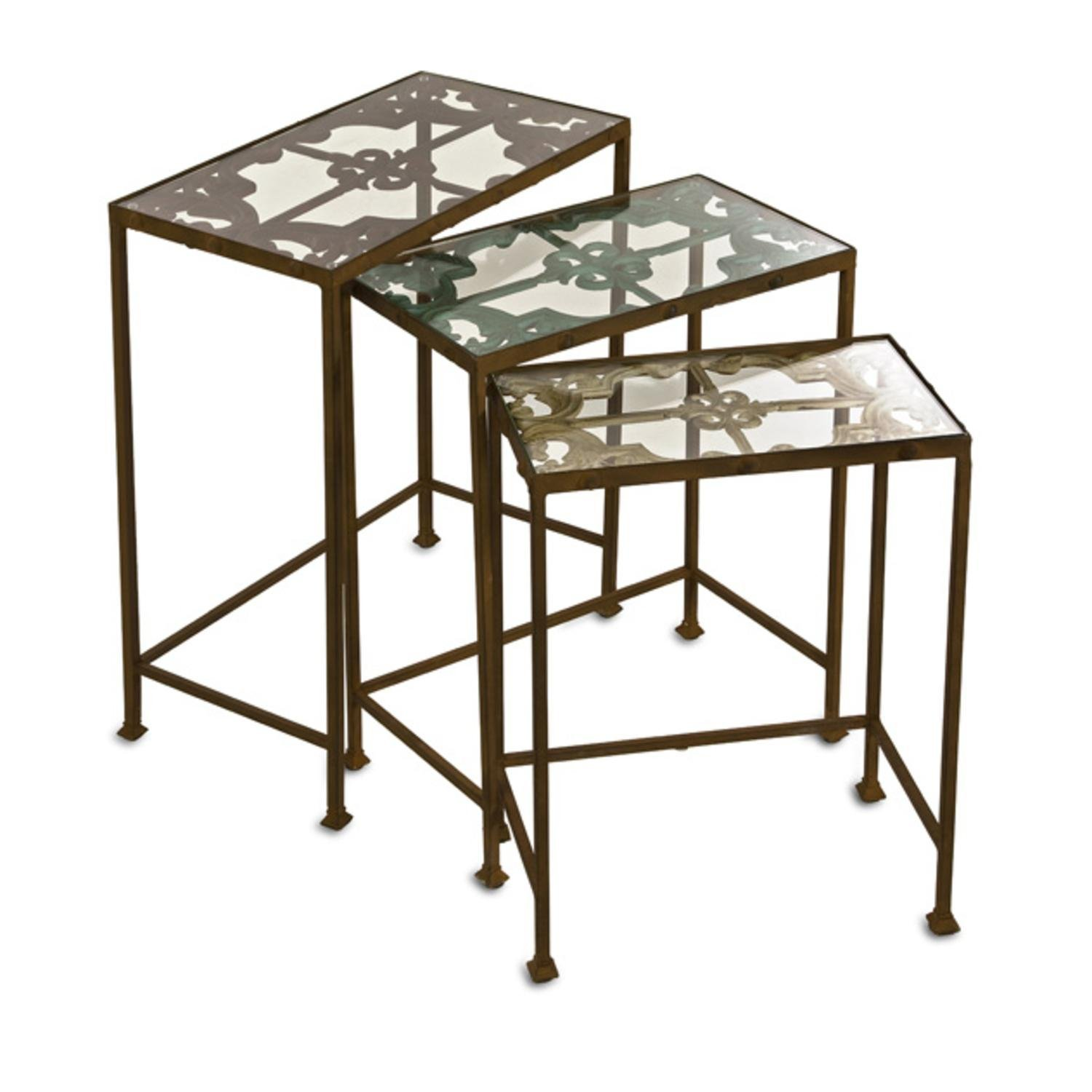 Get Quotations · Set Of 3 Decorative Antique Finished Floral Patterned Nesting  Tables
