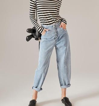 86ef737aa1a Nuevo Gran Bolsillos Largo Mamá Jeans Lavado Jeans Para Mujer - Buy ...