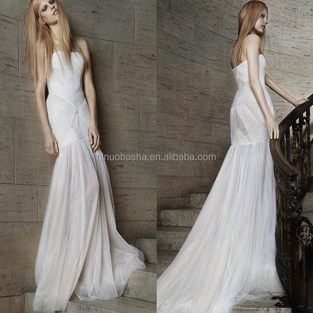 Unique Design 2015 Tulle Made Mermaid Wedding Dress Strapless Criss Cross Corset Zipper Back Long