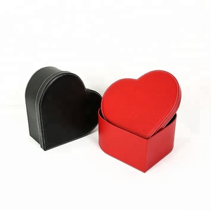 Custom Logo Luxury PU Leather Heart Shape Banquet Flower Packing Box
