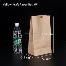 Cheap disposable 6# flat bottom 50gsm yellow kraft paper bags without handle for food