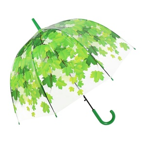 RST brand new fashion dome clear umbrella green leaves japanese transparent apollo disposable decoration umbrella
