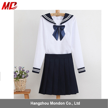 Long sleeved pleated skirt Asain style Japanese korean high School Naval wind sailor collar Uniform