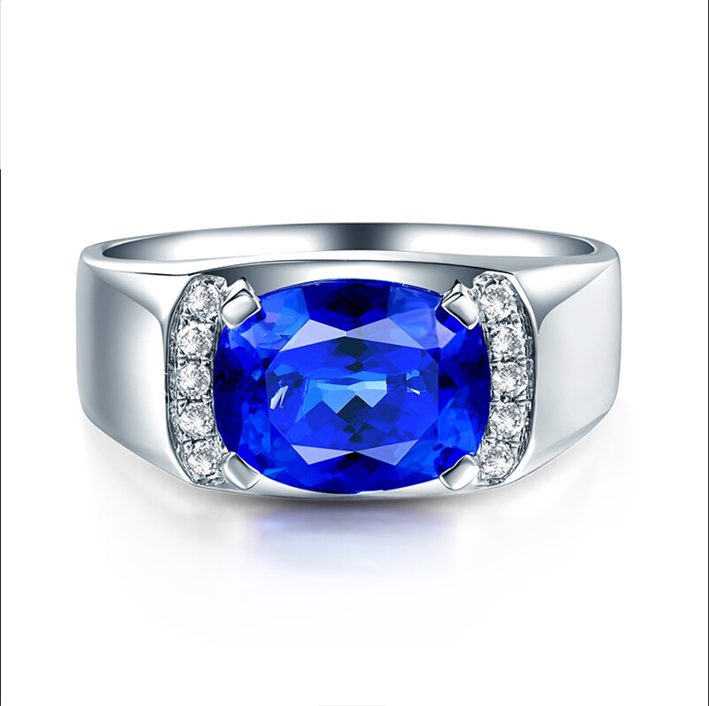 China fine jewelry wholesale 3.25ct natural gemstone blue Tanzanite 18k gold ring man
