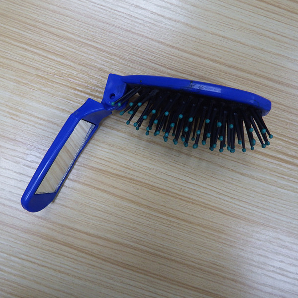 Compact Travel Mini Folding Hair Brush with Mirror
