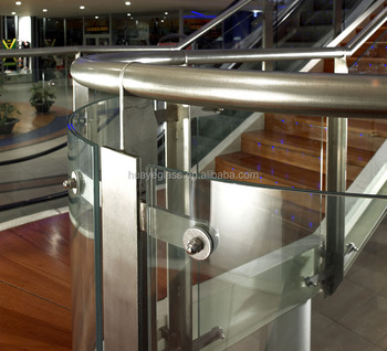 Curved Glass Balustrade,curved Laminated Glass Railing,curved Glass Stair  With CE Certification