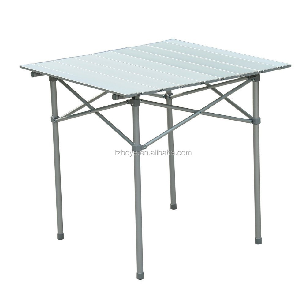 Roll Up Top Aluminum Camp Portable Camping Picnic Table W Carrying Bag 27 X Silver Folding