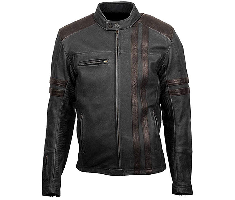 Ultimo Fashions Cafe Racer Retro Classic Black Men Biker Leather Jacket | Retro Scorpion Stylish Leather Jacket