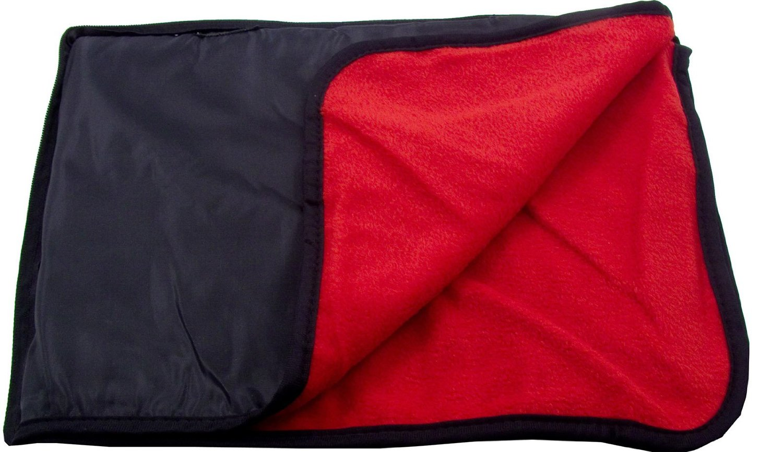 Simplicity Outdoor Water Resistant Poly Liner Back Nylon Fleece Stadium Blanket Beach Throw Mat Cushion - Black/Red