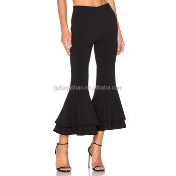 Custom Wholesale Black Flare Pants Pantalon Femme Casual Trousers Women  Bottom Wide Pants 372ec9438f15