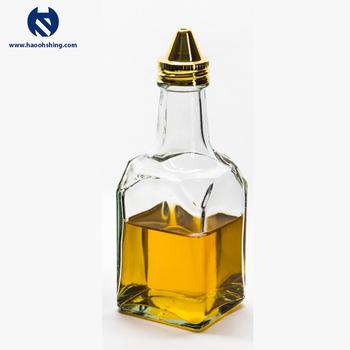 Oil Vinegar Cruetsquare Shape Tall Glass Bottle Stainless Steel